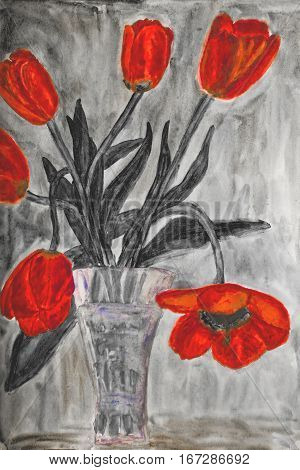 Hand painted picture watercolours vase with red tulips in black colours.