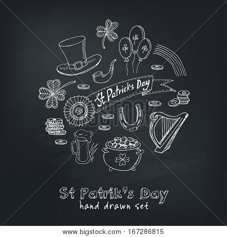St. Patrick's Day set with Irish music, pub decoration, rainbow, flags, beer mugs, clover, leprechaun hat, pot of gold coins. Vector illustration