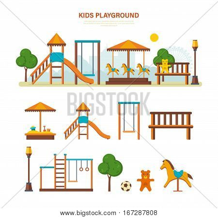 Concept illustration - children's entertainment playground, with a slide, benches, a sandbox, a swing and a recreation park, toys. Place children games. Vector illustration.