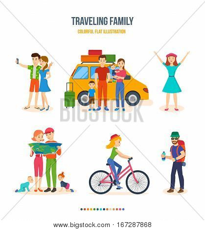 Traveling family, journey, hiking with kids, joint pictures, family trip, journey together, bike tour, location determination, route search selfie Colorful flat illustration