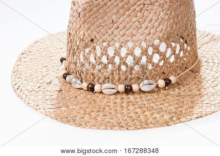 Closeup Straw hat isolated on white background