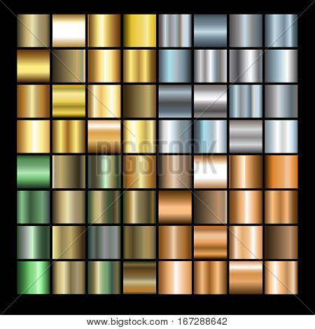 Set of different metals gradients. Collection of gold bronze silver and copper backgrounds. Vector illustration