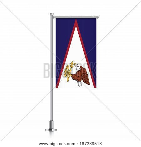 American Samoa vector banner flag hanging on a silver metallic pole. Vertical American Samoa flag template isolated on a white background.