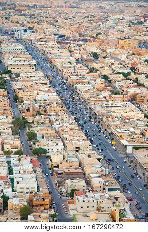 Aerial view of downtown in Riyadh, Saudi Arabia.