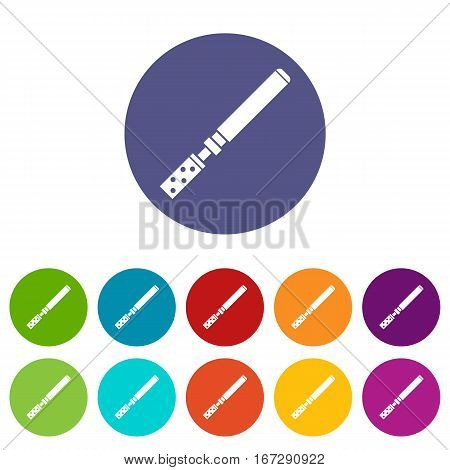 Electronic cigarette with cartridges set icons in different colors isolated on white background