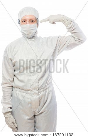 Chemist In Protective Suit  On A White Background Isolated