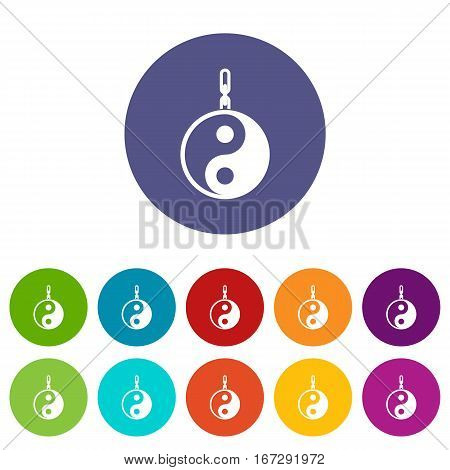 Sign yin yang set icons in different colors isolated on white background
