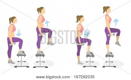 Stepup exercise for legs on white background. Healthy lifestyle. Workout for legs. Exercises for fat women. From fat to skinny.