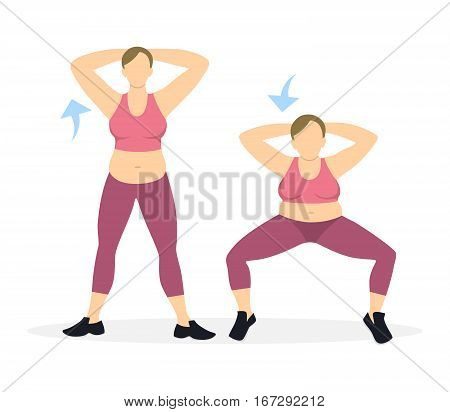 Squats exercise for legs on white background. Healthy lifestyle. Workout for legs. Exercises for fat women.