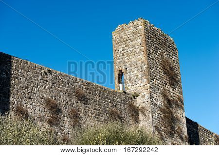 Detail of fortified town of Monteriggioni ancient medieval village near Siena Toscana (Tuscany) Italy Europe