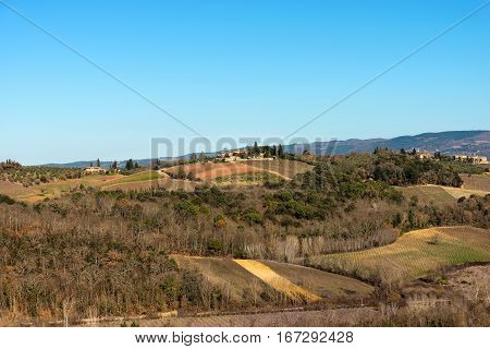 Hills in winter views from the fortified town of Monteriggioni Siena Toscana (Tuscany) Italy Europe