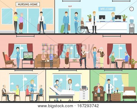 Nursing home interior set. Wards, living rooms and more. Elderly people with nurses. Healthcare for old people.