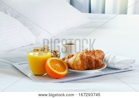 Breakfast In Bed In Hotel Room.