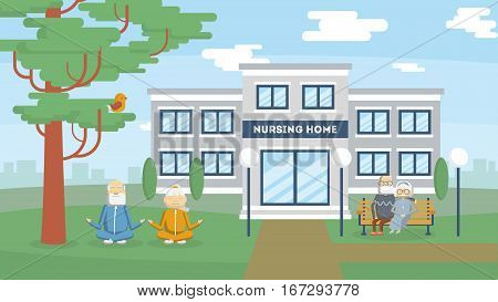 Nursing home building exterior. health care for old and sick people. Center for retired people.