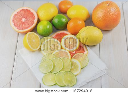 Healthy composition of lemon lime grapefruit and tangerine packed with vitamin C.