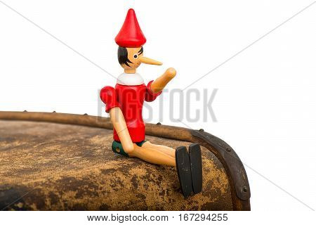 Pinocchio The Puppet Sitting On A Trunk