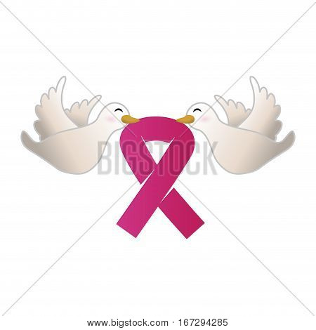 doves with breast cancer symbol in the beak icon design image