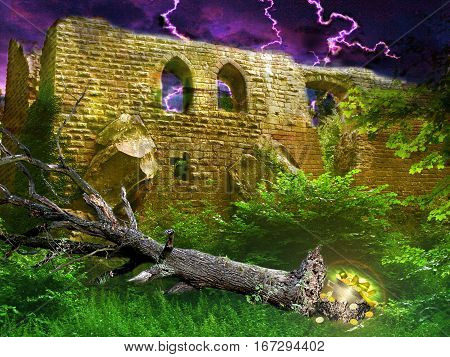 Mysterious golden treasure under toppled tree hidden in bushes next to ancient castle revealed during lightning storm. Landscape with castle ruins, dramatic sky with lightning and tree