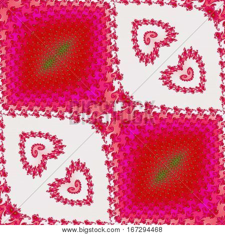Abstract seamless fractal pattern with hearts and scalloped texture. Red, pink, white and green fractal background with romantic valentines ornamental pattern