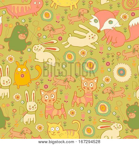 Texture of the cute baby animals in children style