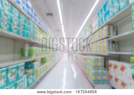 Abstract blurred image of shopping mall background with bokeh.