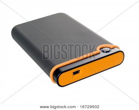 External hard disk drive on white background (isolated with path).