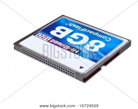 Compact-Flash-Karte auf weißem Hintergrund (isoliert mit Pfad).