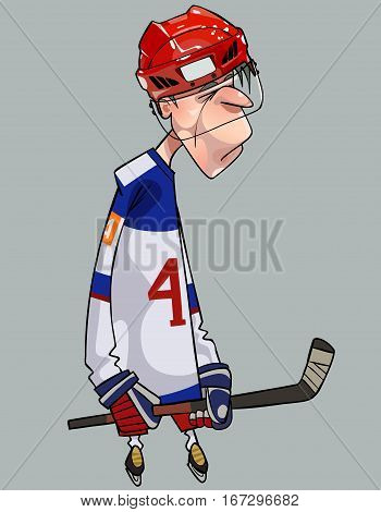 cartoon comical sad hockey player with hockey stick on the ice