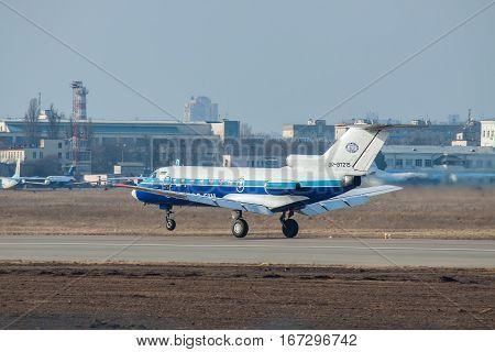 Kiev Ukraine - March 15 2011: Yakovlev Yak-40 regional passenger jet plane taking off
