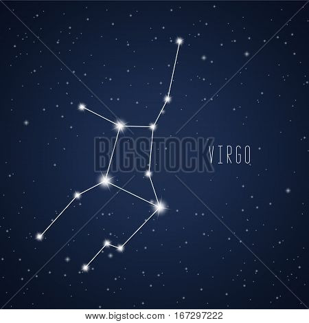 Vector illustration of Virgo constellation on the background of starry sky