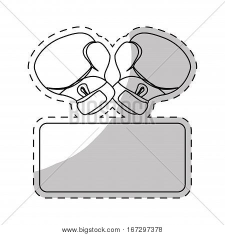 contour boxing gloves fight to defend women, vector illustration