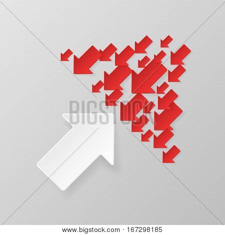 Single white arrow against many red arrows. Bussiness concept. Competition, opposition. Vector illustration