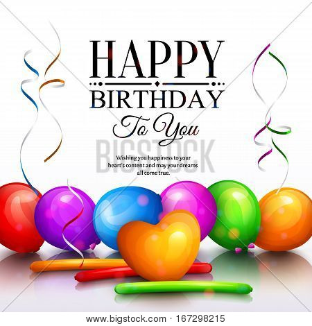 Happy birthday greeting card. Party multicolored balloons, streamers and stylish lettering.