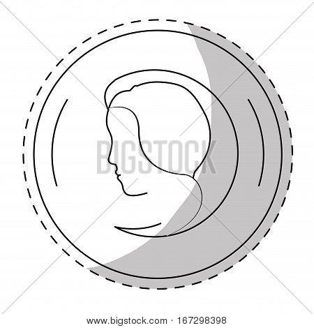 contour symbol feminist defense image, vector illustration design