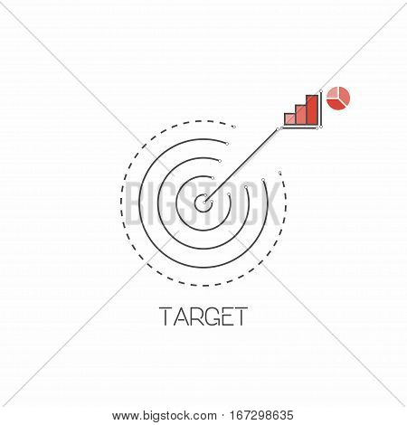 Target goal line icon in restrained colors. Vector illustration