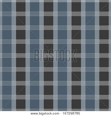 Seamless tartan pattern. Blue and grey kilt fabric texture. Abstract vertical and horizontal lines. Vector illustration