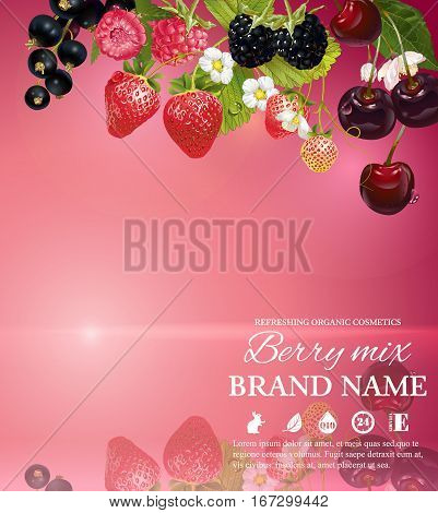 Vector mix berry banner on pink smooth background with reflection. Design for natural cosmetics, health care products. With place for text and product image. Font names included in the layers