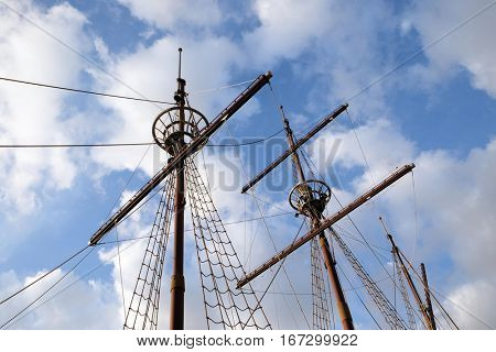 DUBROVNIK, CROATIA - NOVEMBER 30: Mast of motor sailboat Karaka in port of Dubrovnik, Croatia. Replica of 16th c. sailing vessel karaka type, provides cruises around Dubrovnik on November 30, 2015.