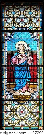 KRAPINA, CROATIA - APRIL 21: Immaculate Heart of Mary stained glass window in the church of Saint Catherine of Alexandria in Krapina, Croatia on April 21, 2016.