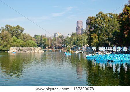 Lake at Chapultepec Park in Mexico City