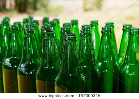 Glass bottles background and textured The bottles of beer abstract of unconscious