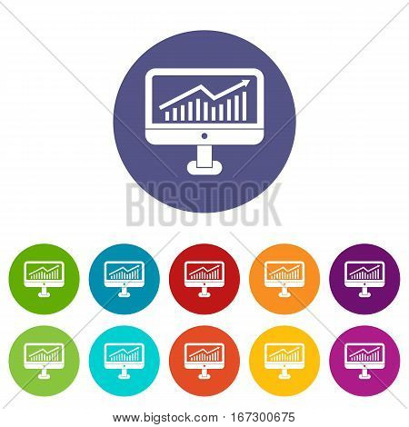 Growth graph on the computer monitor set icons in different colors isolated on white background