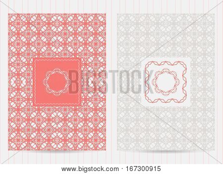 5X7 Inch Size Cards With Frames And Logo. Vector Luxury Templates For Restaurant Menu, Flyer, Greeti