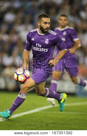 BARCELONA, SPAIN - SEPT, 18: Dani Carvajal of Real Madrid during a Spanish League match against RCD Espanyol at the RCDE Stadium on September 18 2016 in Barcelona Spain