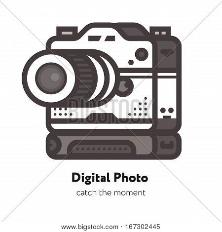 Flat Vector Retro Camera Icon