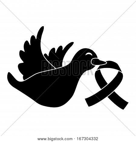 black dove with breast cancer symbol in the beak icon design image