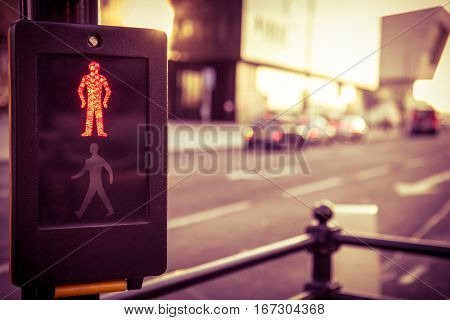 Traffic lights on red waiting to cross