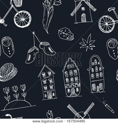 Doodle hand drawn seamless pattern Holland icons. Netherlands culture elements for design. Vector illustration with travel objects