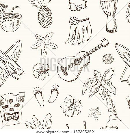 Hawaii seamless pattern, including Hula skirt, tiki gods, totem pole, drums, guitar and palm Vector illustration