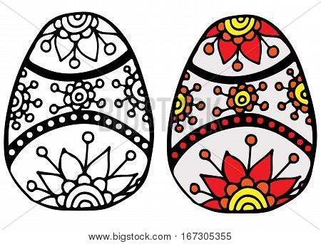 Colorful Easter egg with red flower for coloring book for adult and design elements. Can be used for card invitation posters texture backgrounds placards banners.